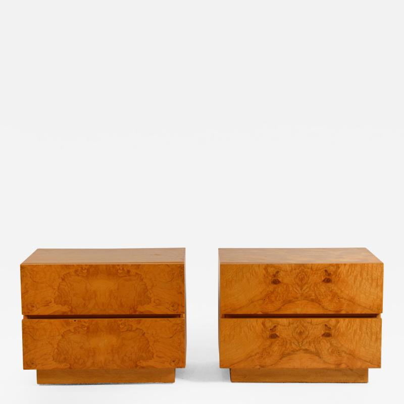 Lane Furniture Pair of Minimalist Burl Wood Nightstands by Lane