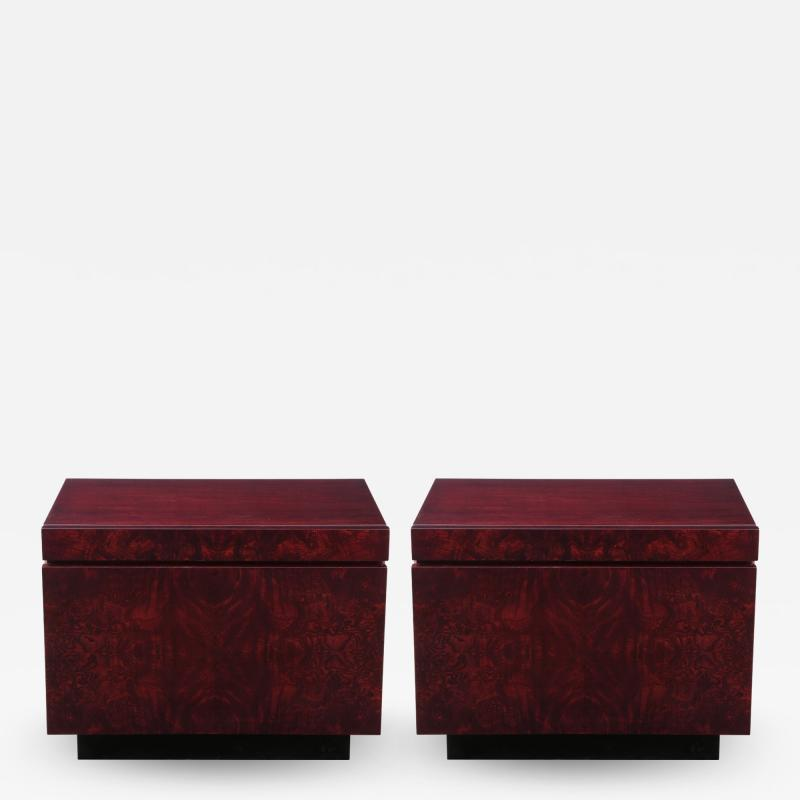 Lane Furniture Roland Carter Red Wine Stained Burl Nightstands