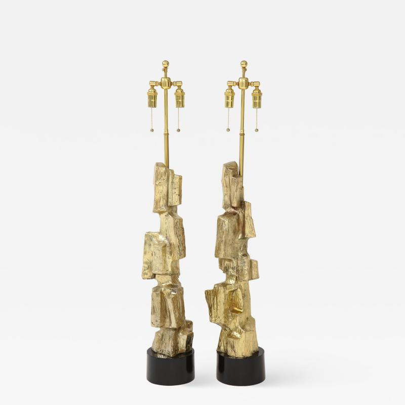 Laurel Lamp Company Pair Brutalist Lamps by Maurizio Tempestini