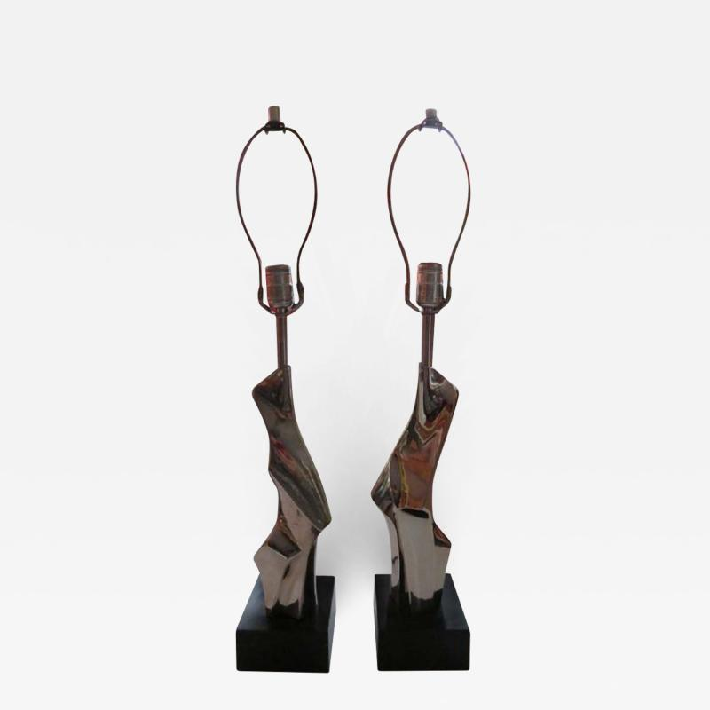 Laurel Lamp Company Pair of Brutalist Laurel Lamps Chrome by Richard Barr Mid Century Modern
