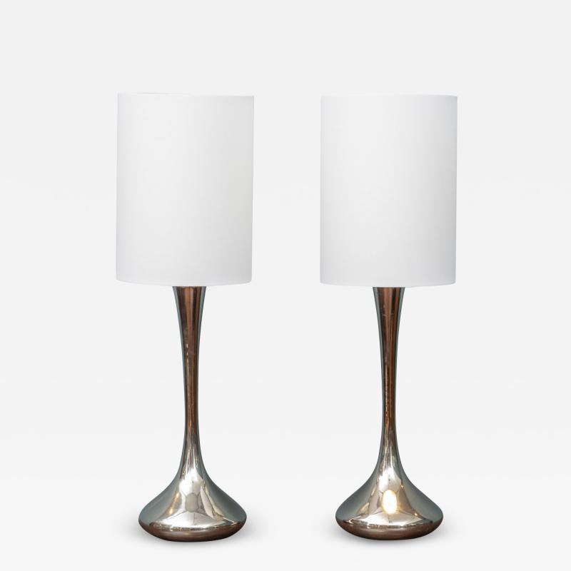 Laurel Lamp Company Pair of Chrome Table Lamps by Laurel