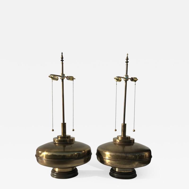 Laurel Lamp Company Pair of Large Scale Antiqued Bronze Lamps
