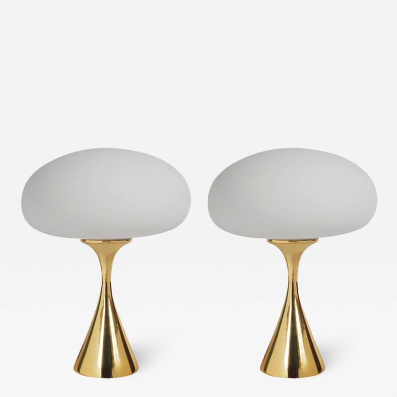 Laurel Lamp Company Pair of Mid Century Modern Laurel Mushroom Table Lamps in Brass