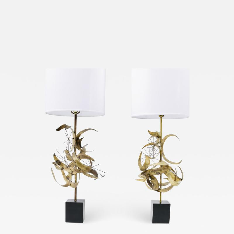 Laurel Lamp Company Sculptural Brass Table Lamps by Laurel