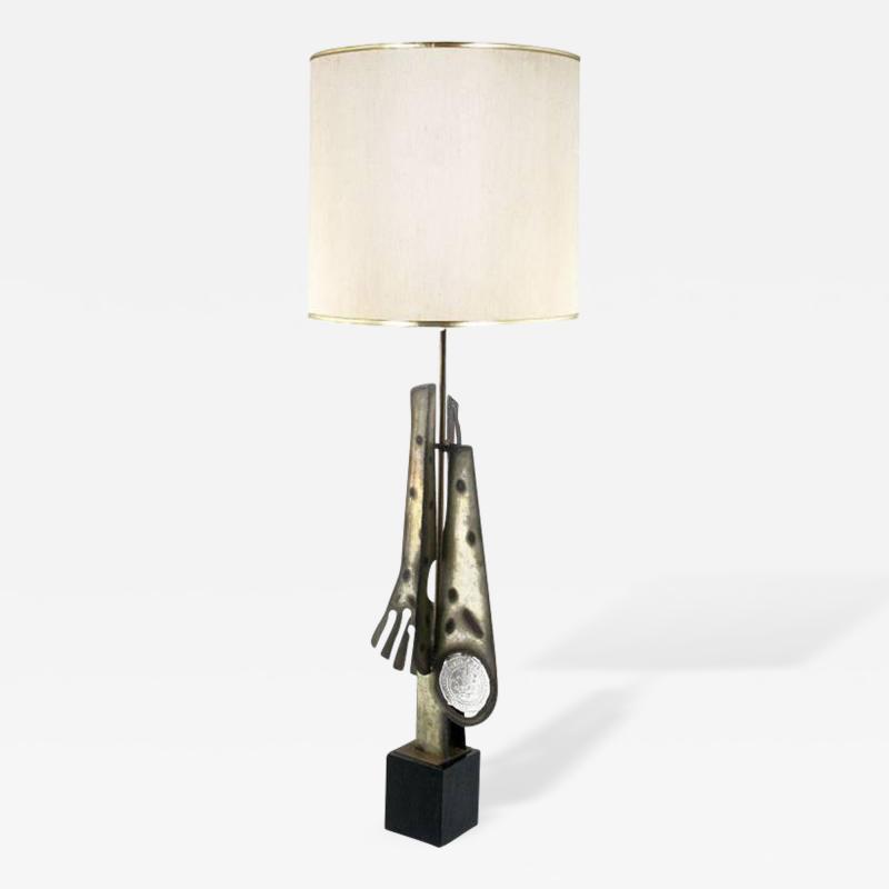 Laurel Lamp Company Substantial Tall Brutalist Metal Sculpture Lamp by Laurel