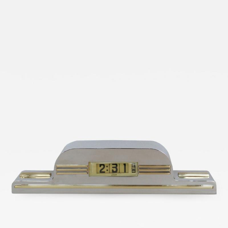 Lawson Time Inc Streamline Modern Clock by Lawson in Nickel And Brass