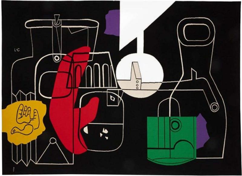 Le Corbusier 1950s Rare tapestry by Le Corbusier Still Life handwoven in Aubusson France