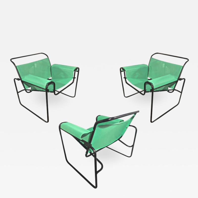 Le Corbusier Jeanneret Perriand Le Corbusier for Thonet rare set of 3 interpreted outside lounge chairs