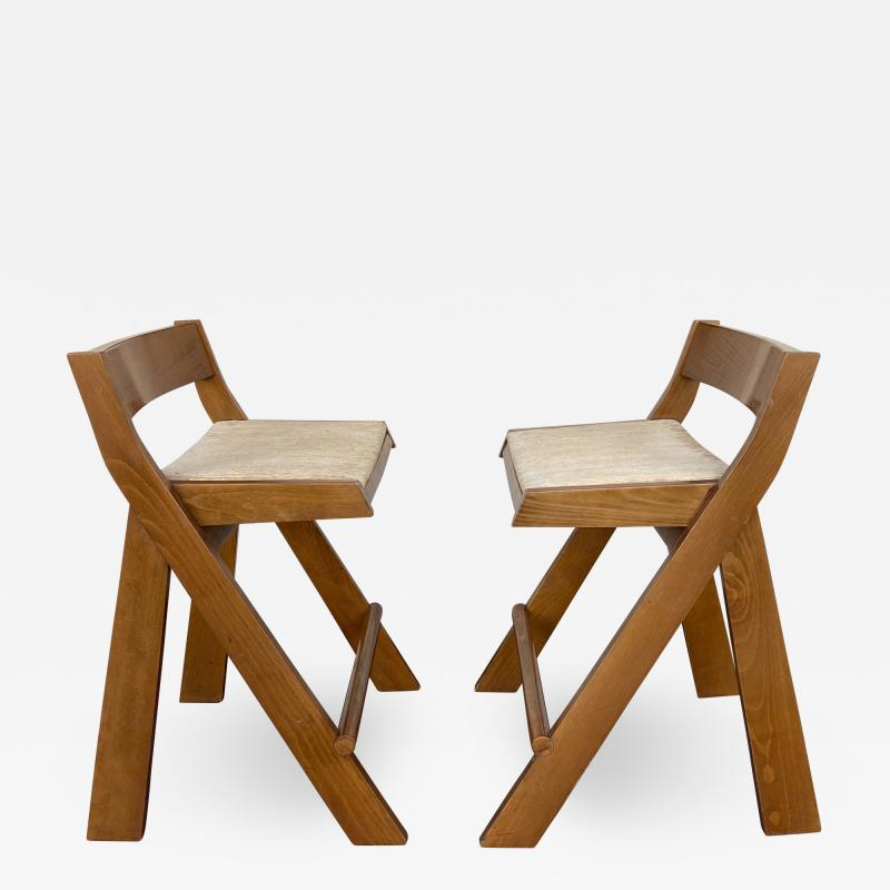 Le Corbusier Jeanneret Perriand Pair of Compas Wood Counter Stools Italy