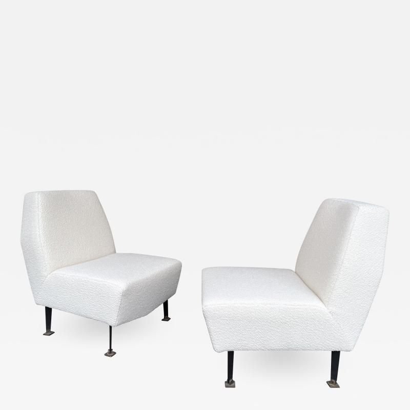Lenzi Pair of Slipper Chairs Boucl Fabric by Studio APA for Lenzi Italy 1960s
