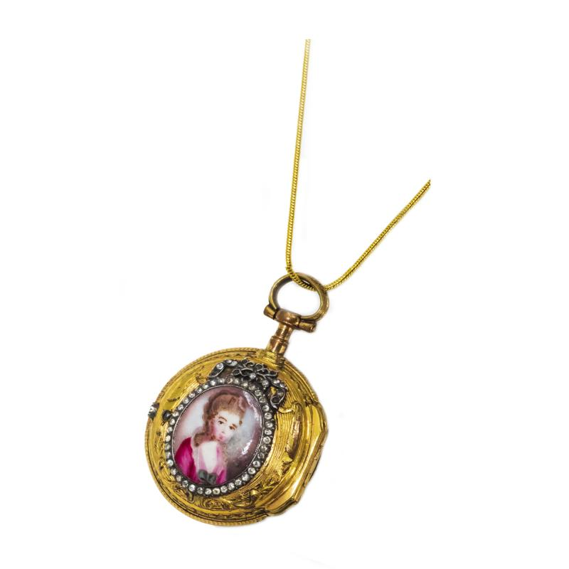 Leroy Paris 1700s French Leroy 18kt Gold Diamond Enamel Royal Lady Motif Pendant Watch
