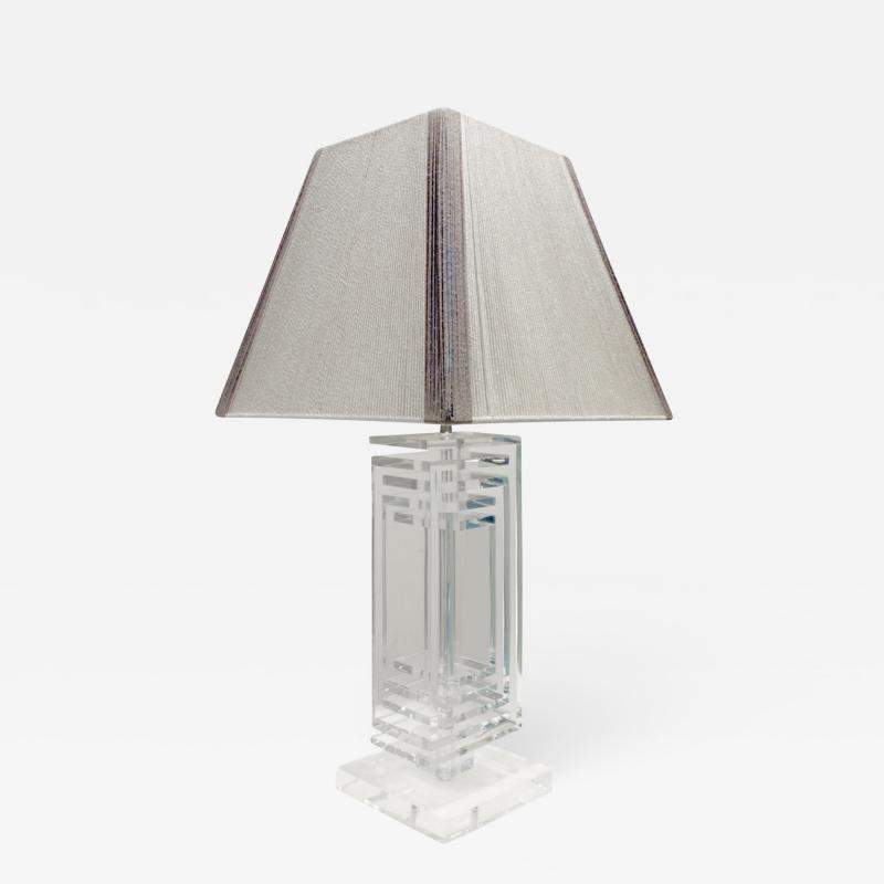 Les Prismatiques Les Prismatiques Exceptional Lucite Table Lamp 1970s