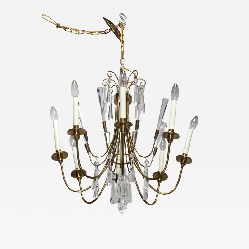 Lightolier Tommi Parzinger Style Brass And Crystal Chandelier