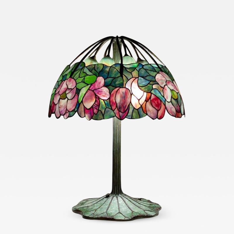 Lillian Nassau LLC Extremely Rare Lotus Table Lamp by Tiffany Studios c 1906