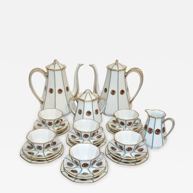 Limoges 1920s French Art Deco Limoges Porcelain Modern Octagonal Tea Coffee Set