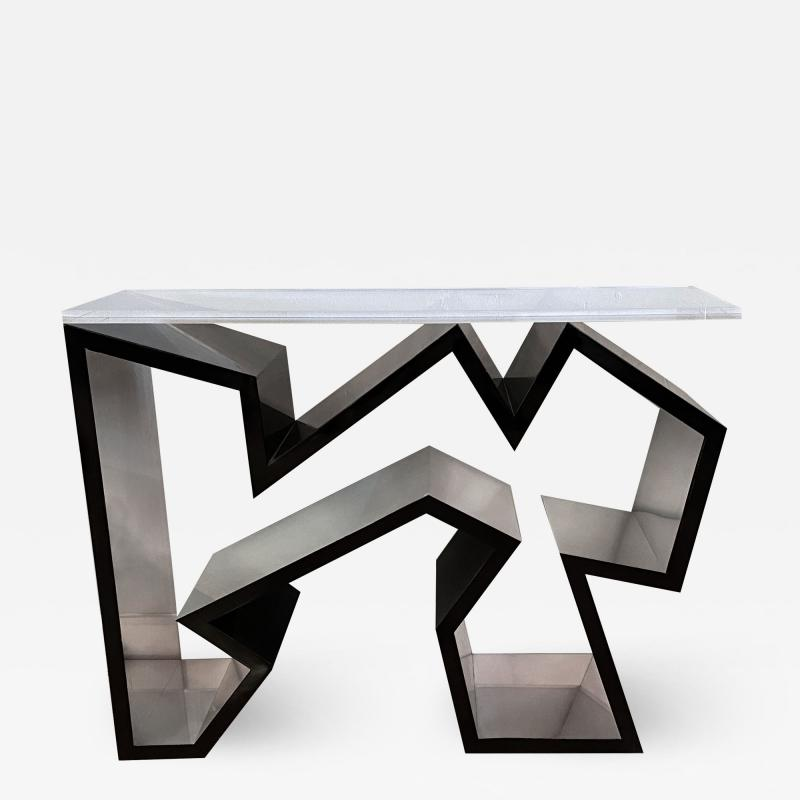 Lion in Frost American Modern Black Lucite Polished Chrome Console Table
