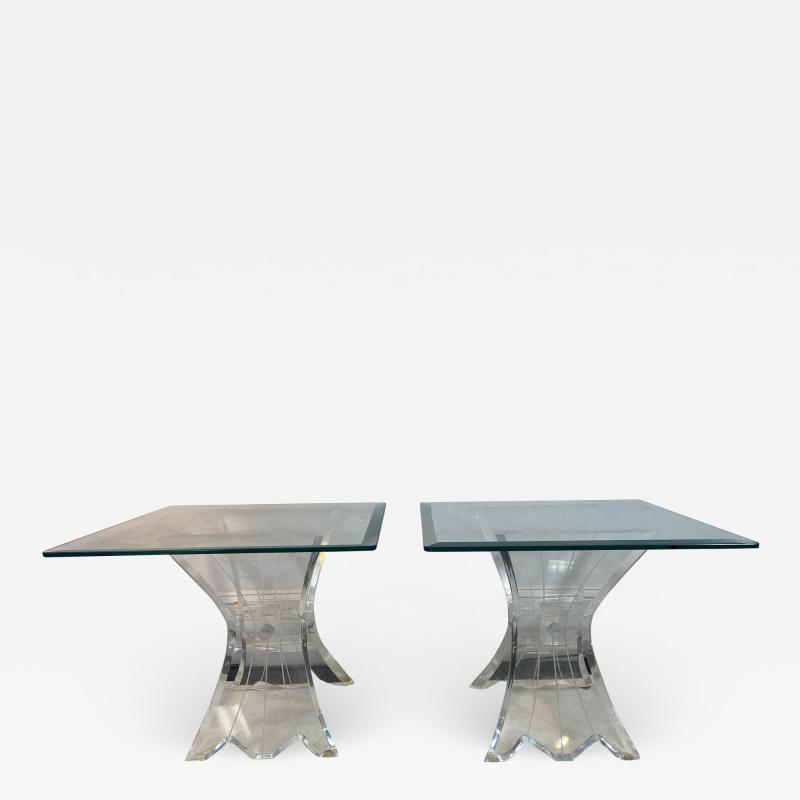 Lion in Frost HIGH END PAIR OF LION IN FROST LUCITE SIDE TABLES