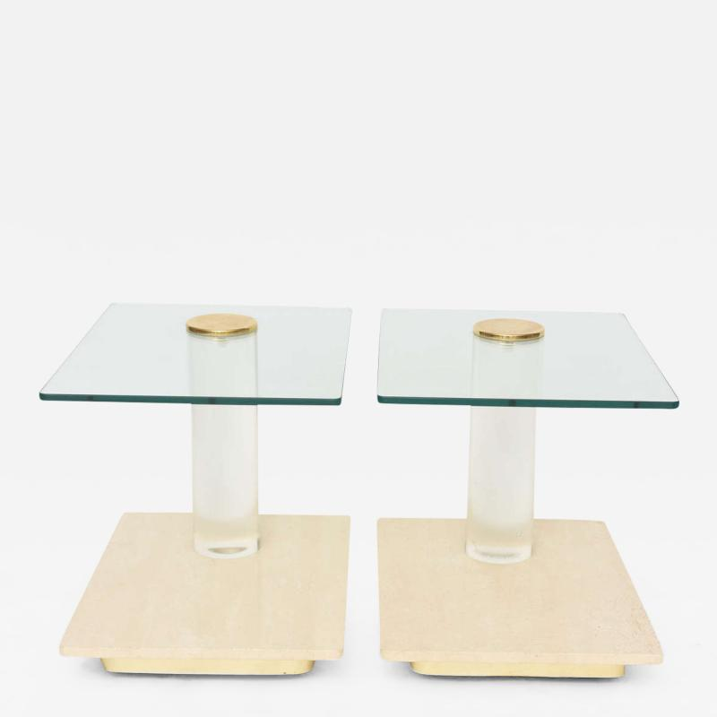 Lion in Frost Pair of American Modern Travertine Marble Lucite and Glass Tables Lion in Frost