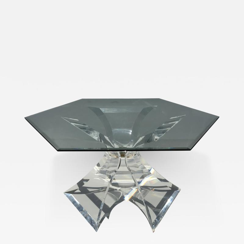 Lion in Frost Tripod Lucite Dining Table by Lion in Frost of Leon Frost