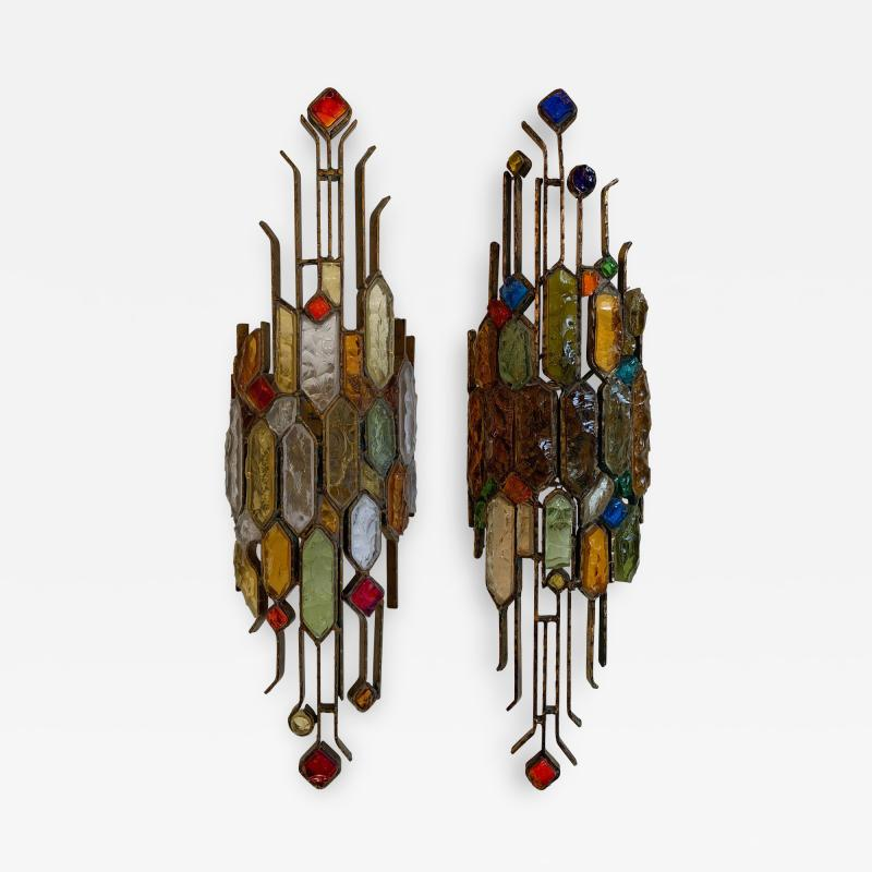 Longobard Pair of Hammered Glass Wrought Iron by Longobard Italy 1970s