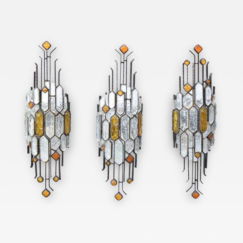 Longobard SET OF 3 HAMMERED GLASS WALL LIGHTS BY LONGOBARD