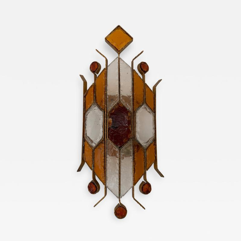 Longobard Sconce Hammered Glass by Longobard Italy 1970s