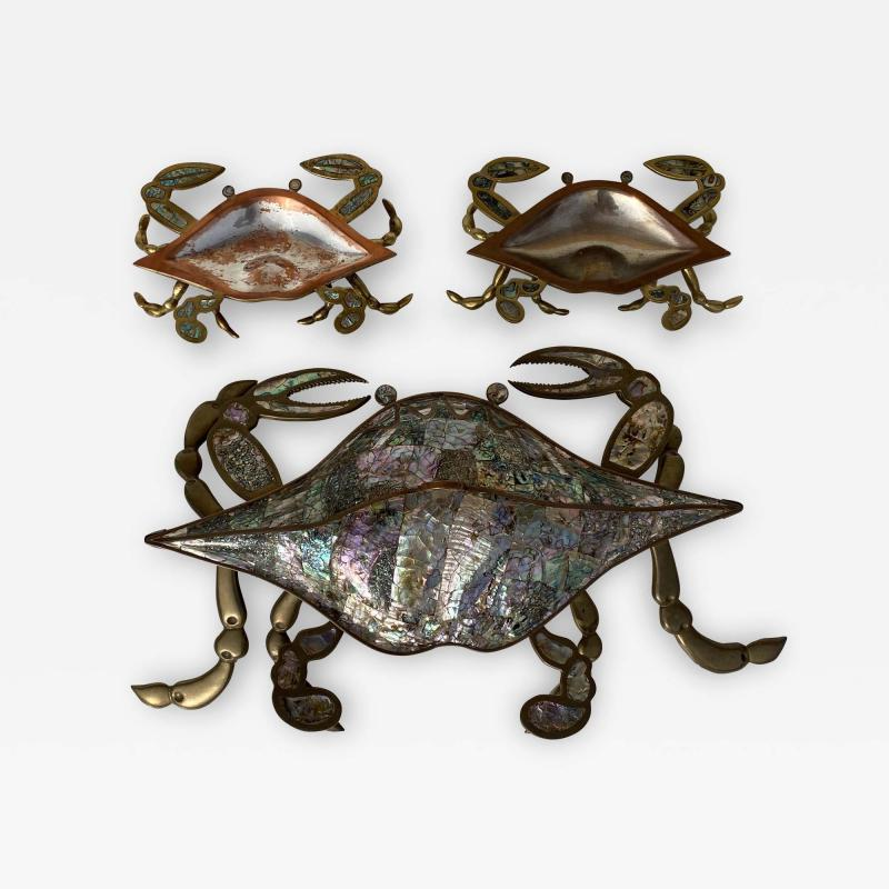 Los Castillo Mexican Brass and Abalone Crab Family Serving Dish