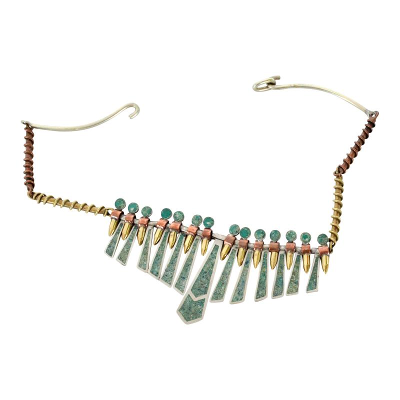 Los Castillo Mixed Metal MALACHITE Mosaic Choker Fringe Bib NECKLACE Mexican Modernist 1960s