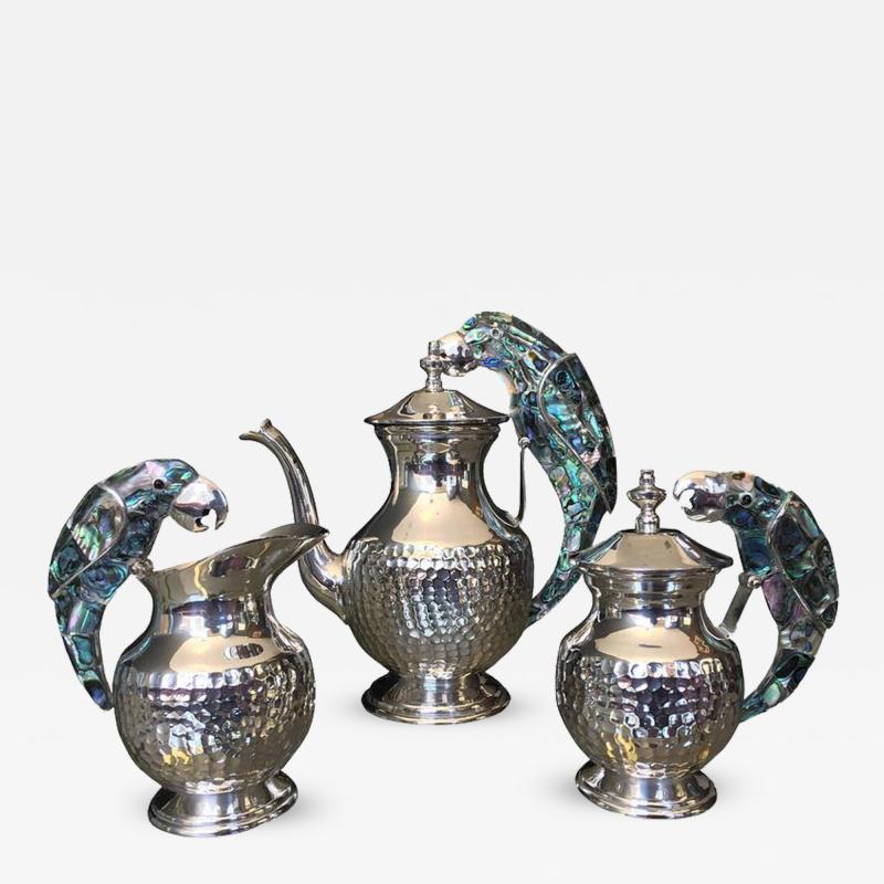 Los Castillo Tea Service Set in Silver and Abalone by Los Castillo