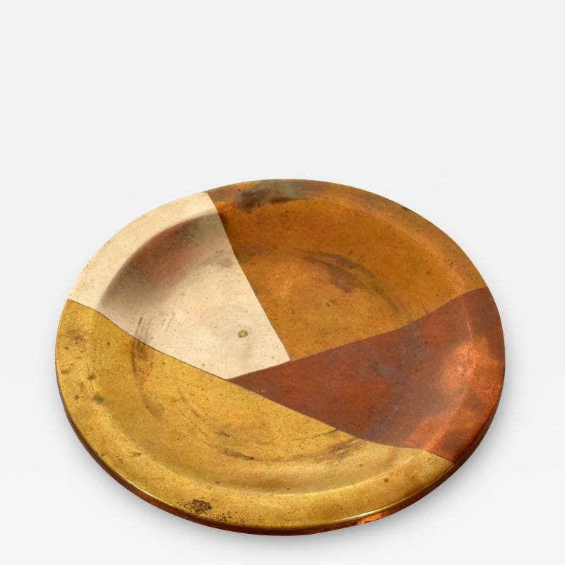 Los Castillo Vintage Married Metals Round Decorative Plate BRASSY Dish by LOS CASTILLO