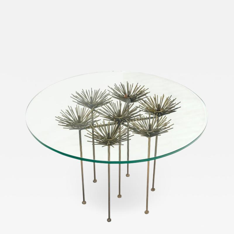 Lost City Arts Brutalist Bronze Gilt Floral Table by Lost City Arts