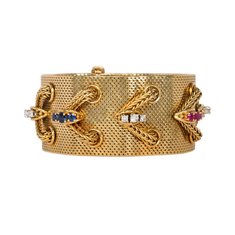 Lotos 1950s Woven Gold and Gemset Laced Design Bracelet Lotos Germany