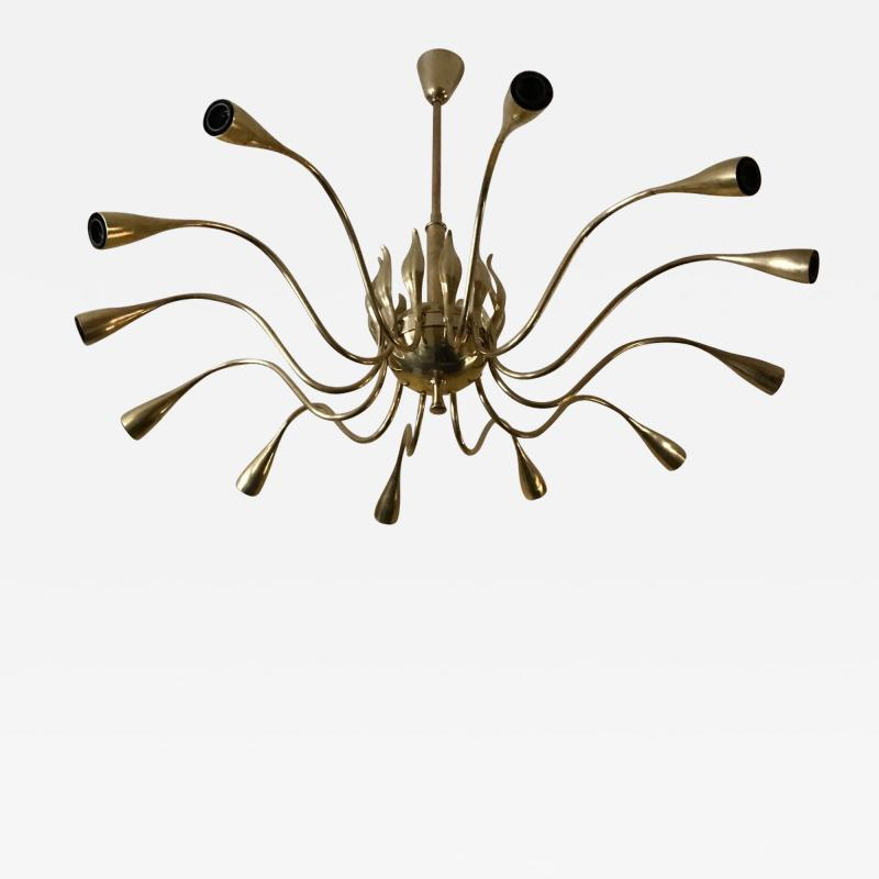 Lumi 12 Arms Ceiling Light in brass