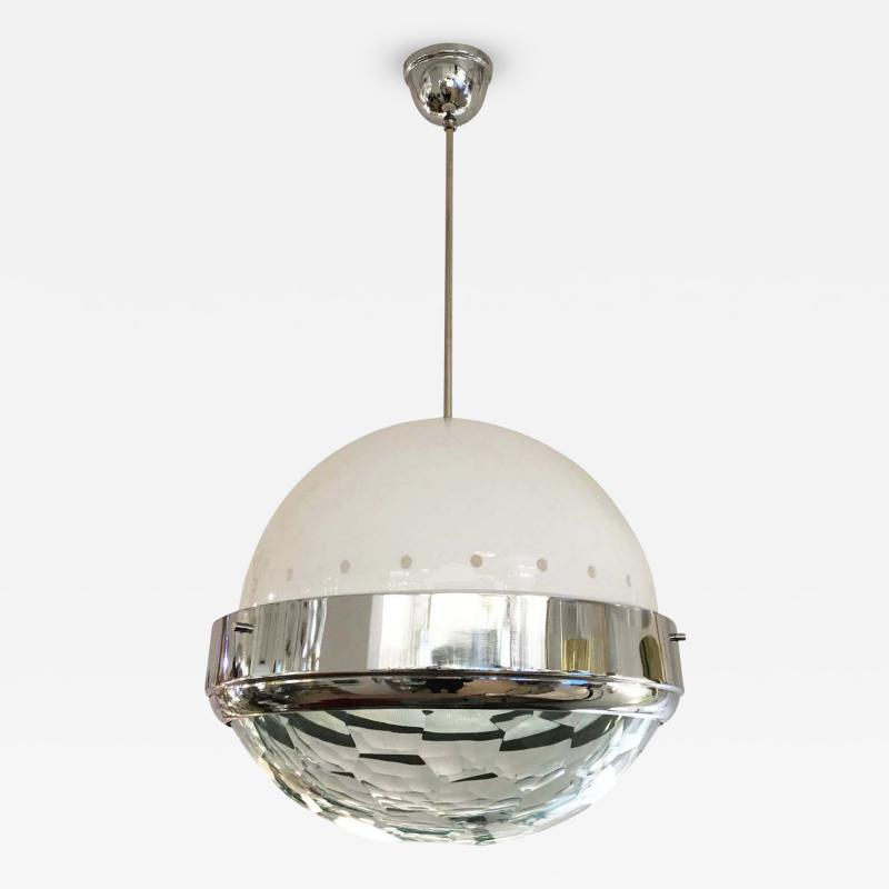 Lumi Large Faceted Lens Pendant Attributed to Lumi Italy 1960s