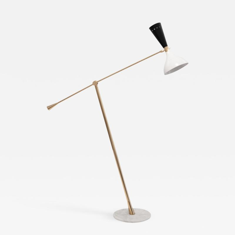 Lumi Mid Century Modern Brass and Marble Floorlamp by Lumi Italy c 1960s