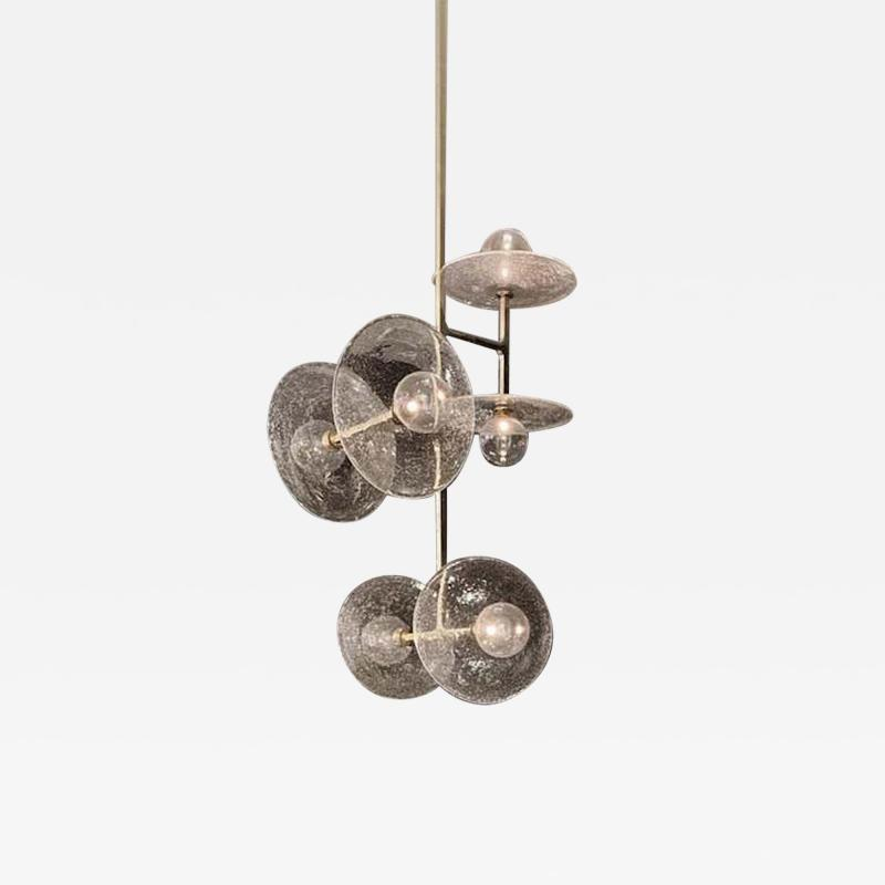 Lumifer by Javier Robles Stellar 6 Point Vertical Pendant Custom Polished Brass and Hand Blown Glass