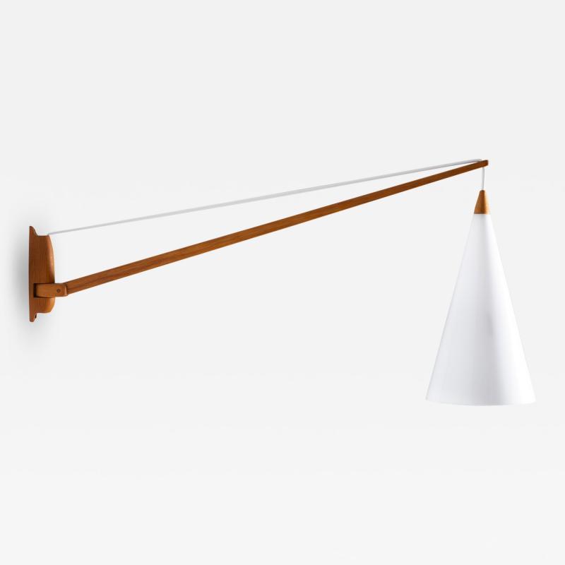 Luxus Swedish Midcentury Swiveling Wall Lamp in Acrylic and Teak by Luxus