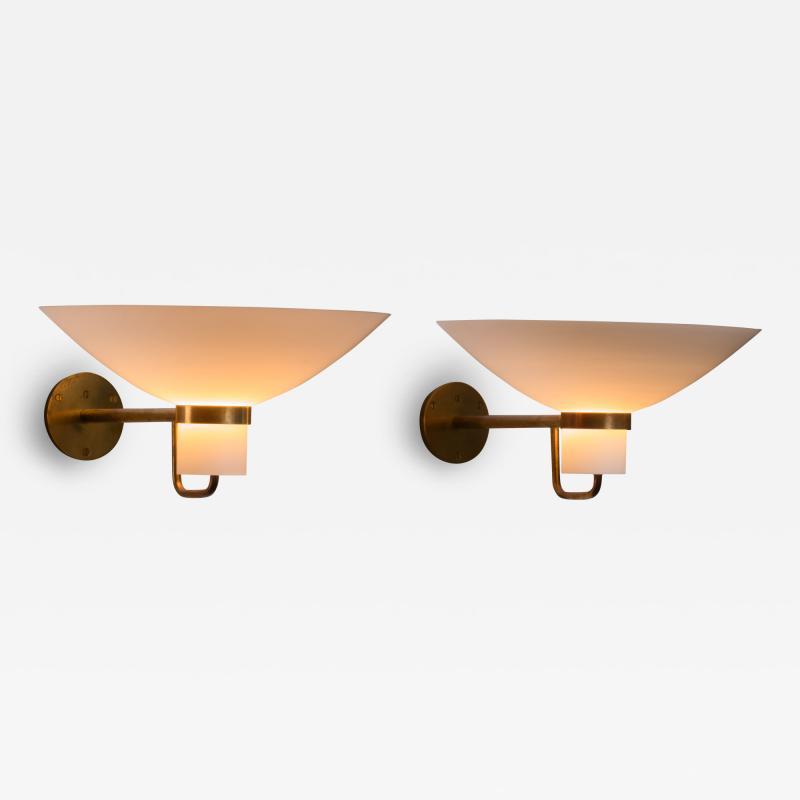 Lyfa Pair of Lyfa brass and opaline glass wall lamps