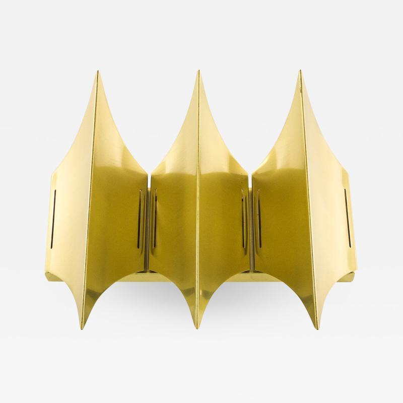 Lyfa Sculptural brass wall lamp Gothic III by Lyfa 1960s