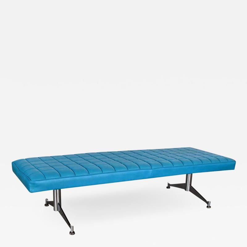 Madison Furniture MCM vinyl faux leather turquoise chrome bench daybed style of arthur umanofF