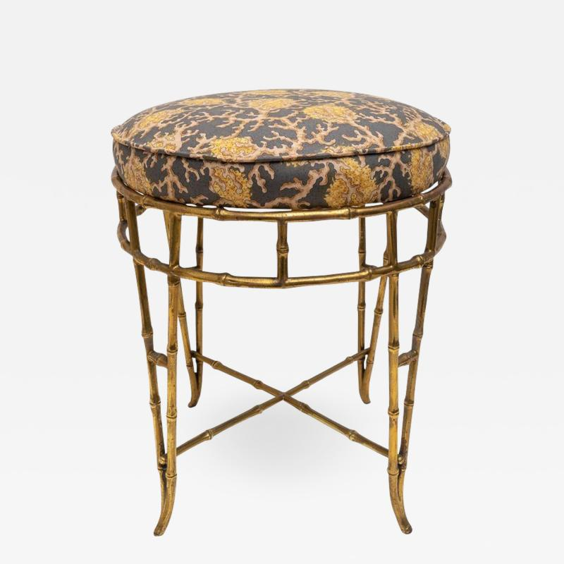 Maison Bagu s Brass Faux Bamboo Vanity Stool