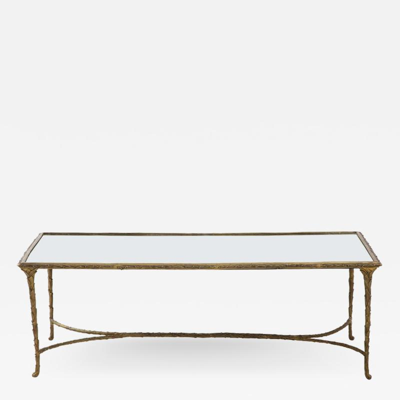 Maison Bagu s Bronze Bagu s Style Cocktail Table with a Mirrored Top