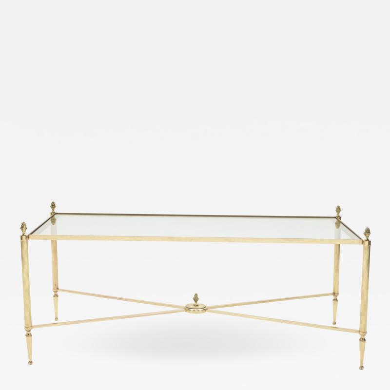 Maison Bagu s French Maison Bagues brass glass coffee table 1950s