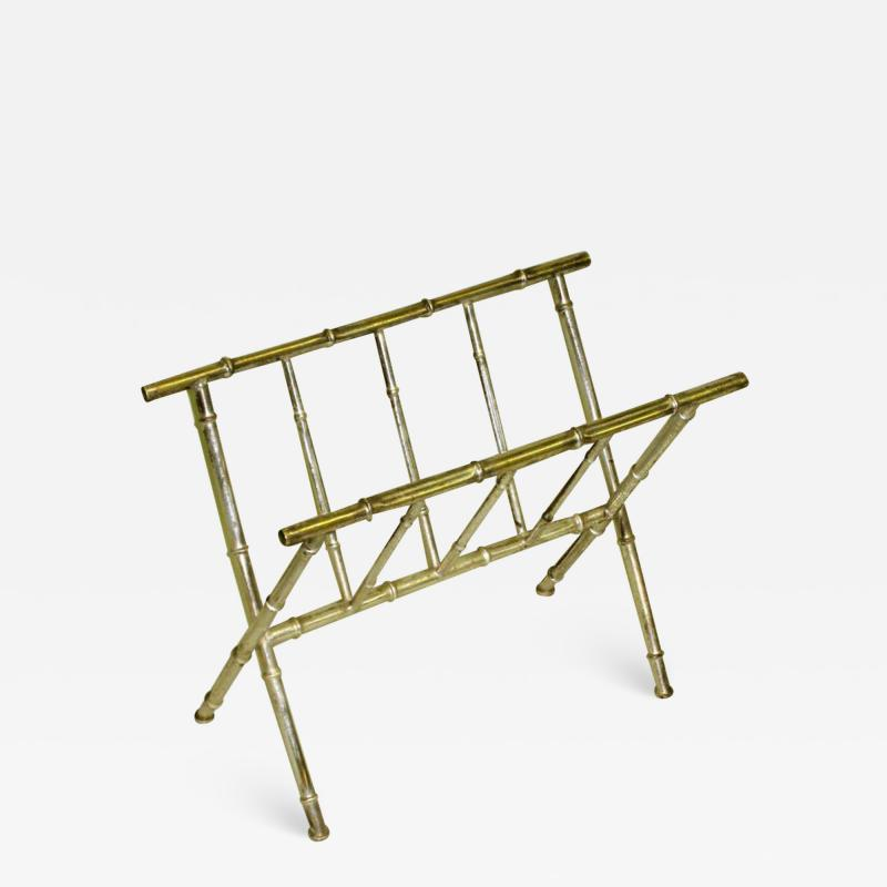 Maison Bagu s French Mid Century Modern Nickeled Brass Faux Bamboo Magazine Stand by Bagues