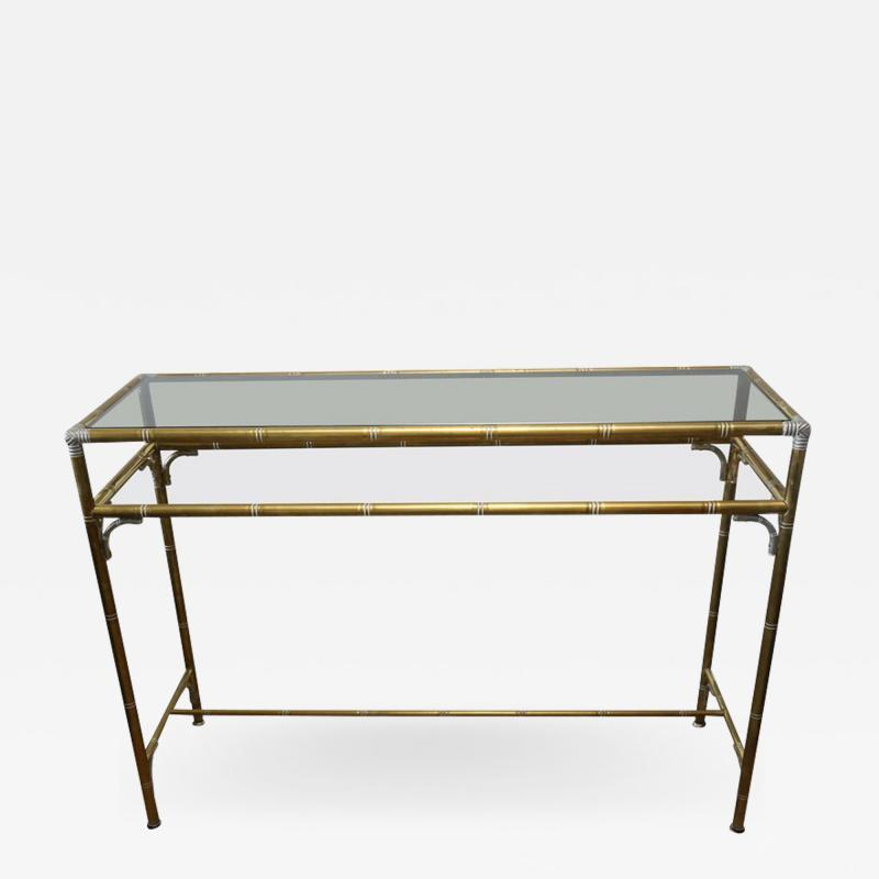 Maison Bagu s Hollywood Regency Style Faux Bamboo Brass Chrome Smoked Glass Console Table