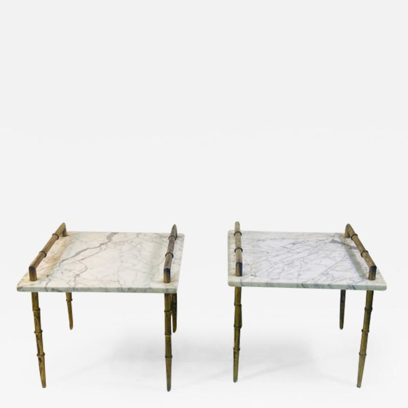 Maison Bagu s MODERN MARBLE AND BRASS BAMBOO LEGS TABLES