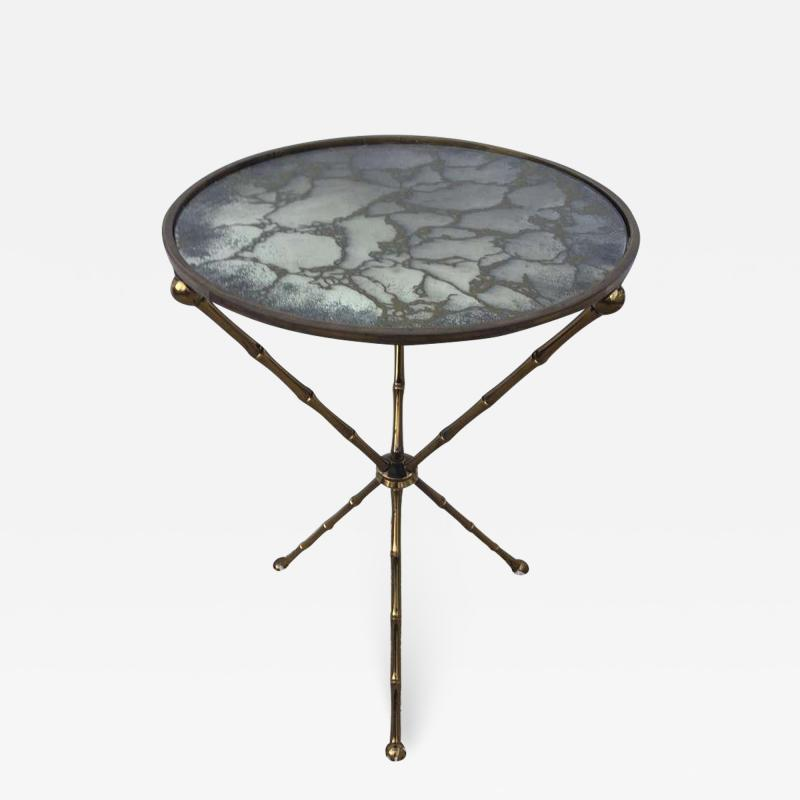 Maison Bagu s Maison Bagu s Bronze Smoked Grey Gilt Vien Mirror Top Table Hollywood Regency