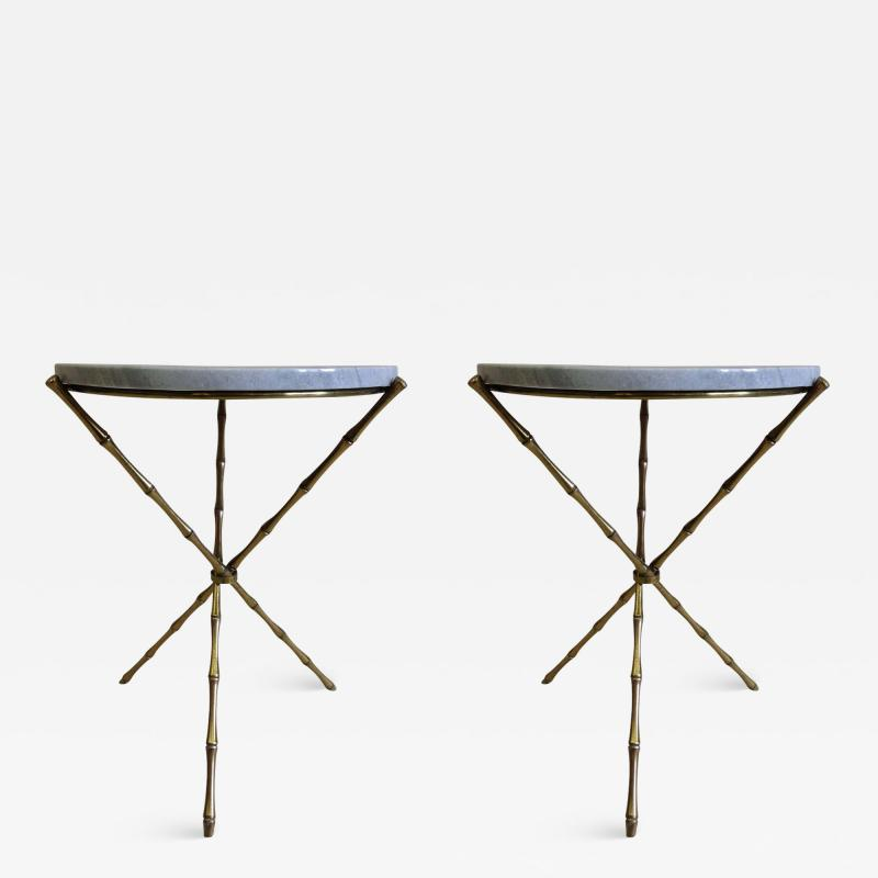 Maison Bagu s Pair French Mid Century Brass Faux Bamboo Marble Side Tables by Maison Bagu s