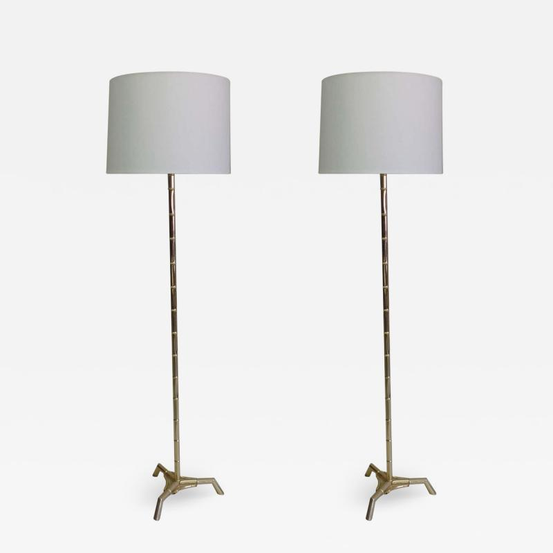 Maison Bagu s Pair Large French Mid Century Brass Faux Bamboo Floor Lamps by Maison Bagues