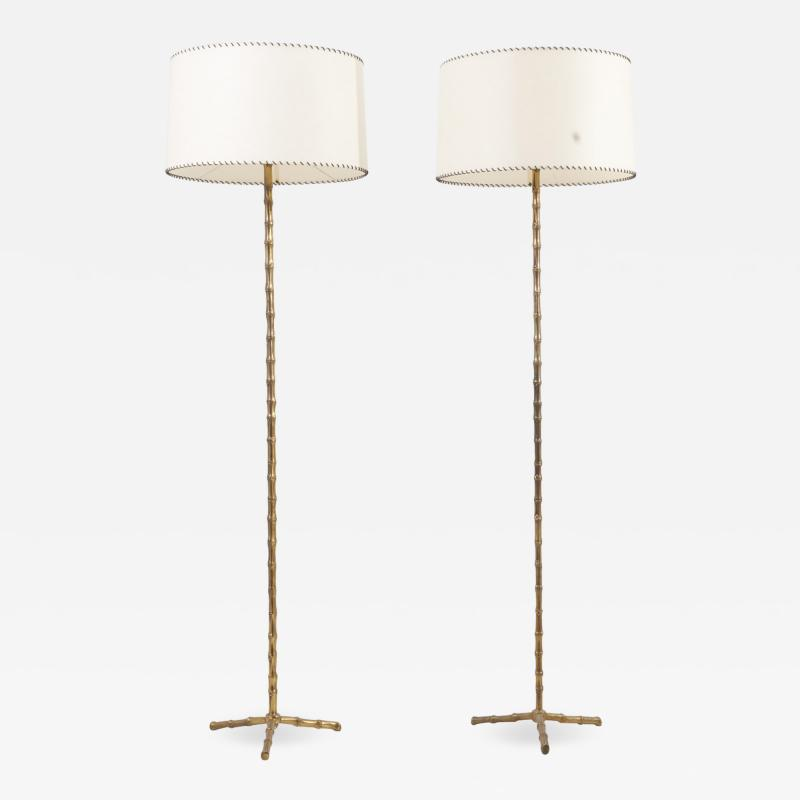 Maison Bagu s Pair of Bamboo Floor Lamps by Maison Bagu s France 1960s
